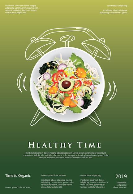 野菜サラダ有機食品ポスター Premiumベクター
