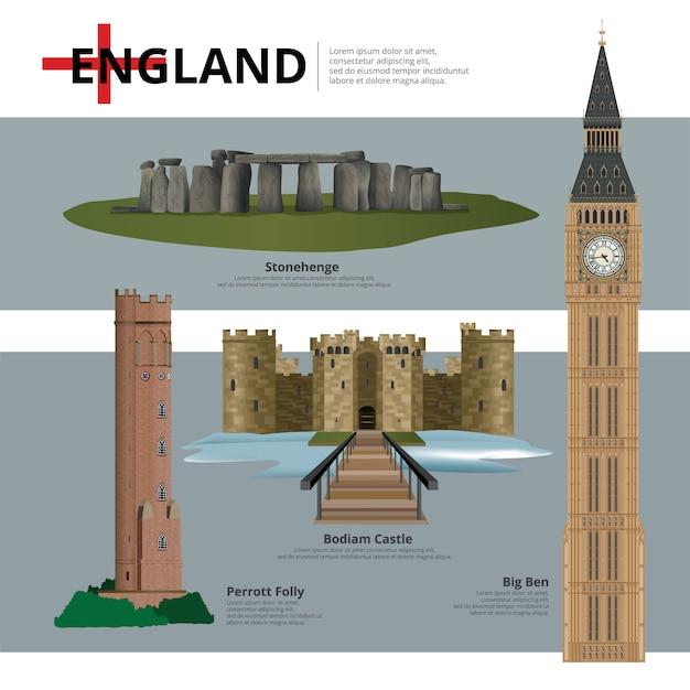 Достопримечательности англии и достопримечательности путешествия векторная иллюстрация Premium векторы