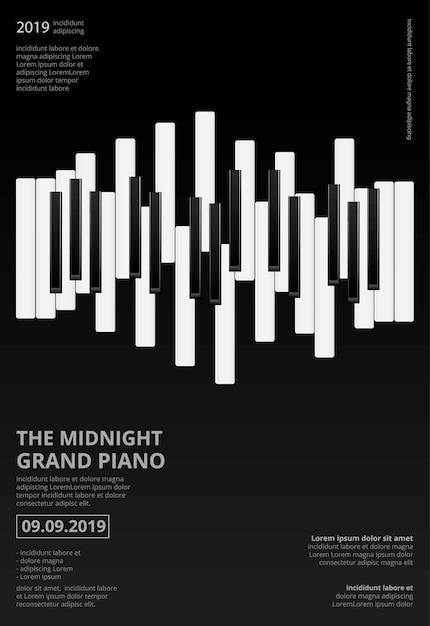 音楽グランドピアノポスターテンプレート Premiumベクター