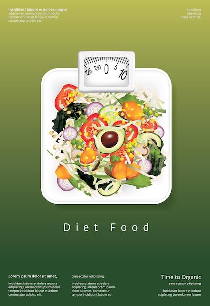 野菜サラダ有機食品ポスターデザインテンプレート Premiumベクター