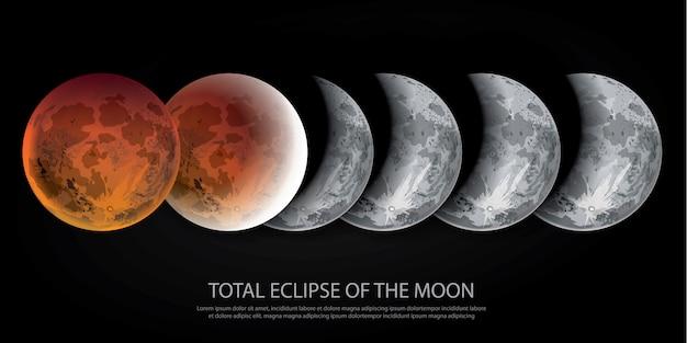 月の皆既日食 Premiumベクター