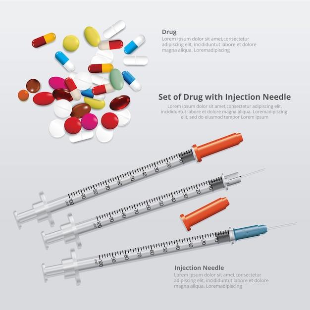 現実的な注射針と薬のセット Premiumベクター