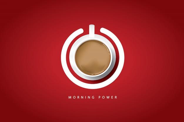 Утренняя сила. кофейный плакат с чашкой кофе и кнопкой питания Premium векторы