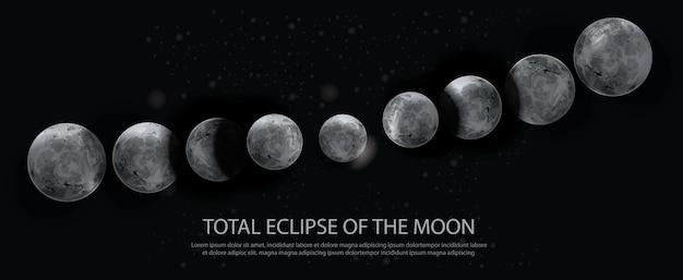 月のイラストの皆既日食 Premiumベクター