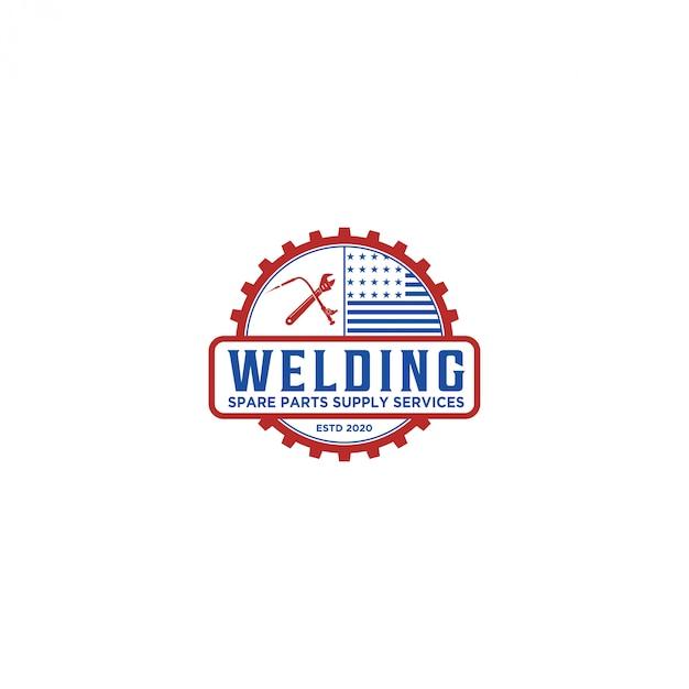 溶接産業ロゴ、ワークショップスペアパーツサービス Premiumベクター
