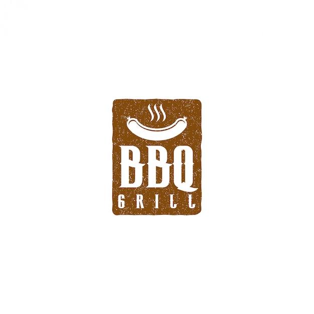 Барбекю гриль ресторан ресторан еда напиток логотип, барбекю огонь мясо колбаса шпатель элемент Premium векторы