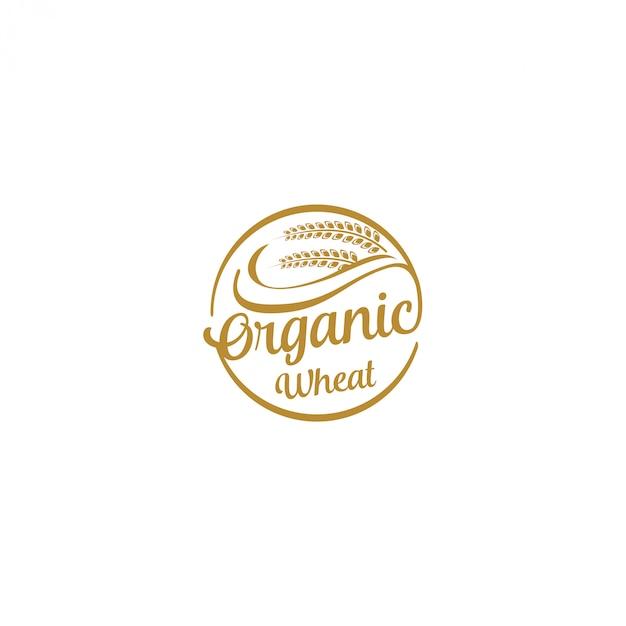 Сельское хозяйство логотип - выращивание зерна пшеницы Premium векторы
