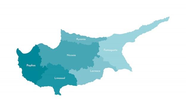 キプロスの簡略化された行政地図のベクトル分離イラスト Premiumベクター