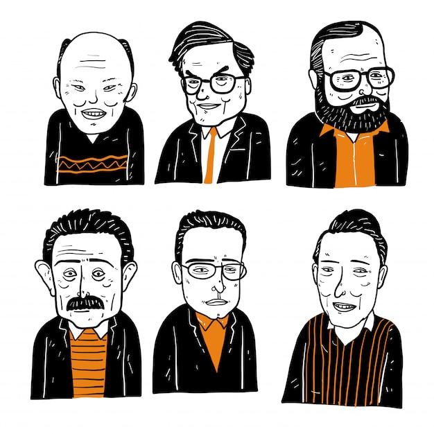 多様な手描きの顔のコレクション。 Premiumベクター