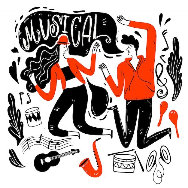 カップルは音楽祭で踊っています。 Premiumベクター