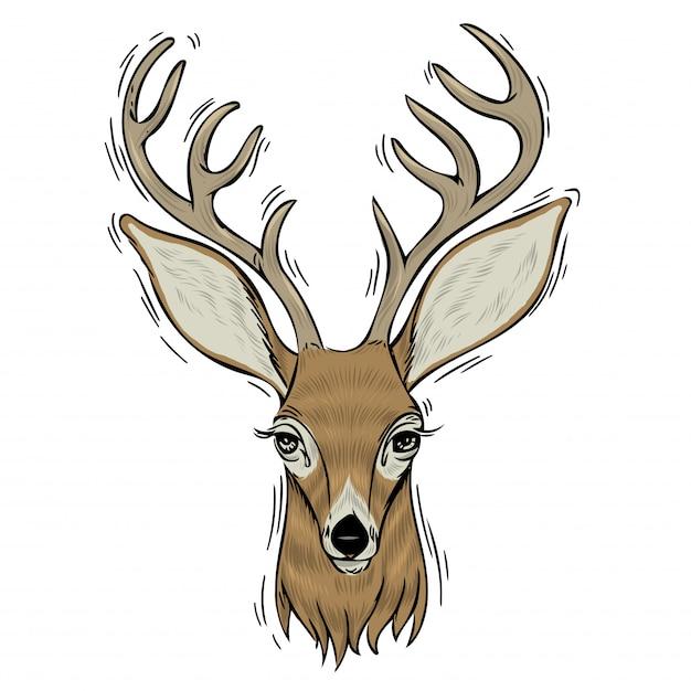 鹿の手描きの頭。 Premiumベクター