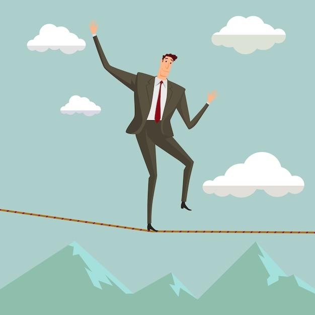 青い空にロープをバランスで歩く危機の男。 Premiumベクター