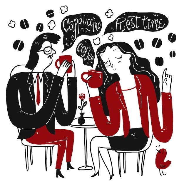 女と男の午後の休憩中にコーヒーを飲みながらリラックスします。手描きのコレクション、スケッチ落書きスタイルのベクトル図。 Premiumベクター