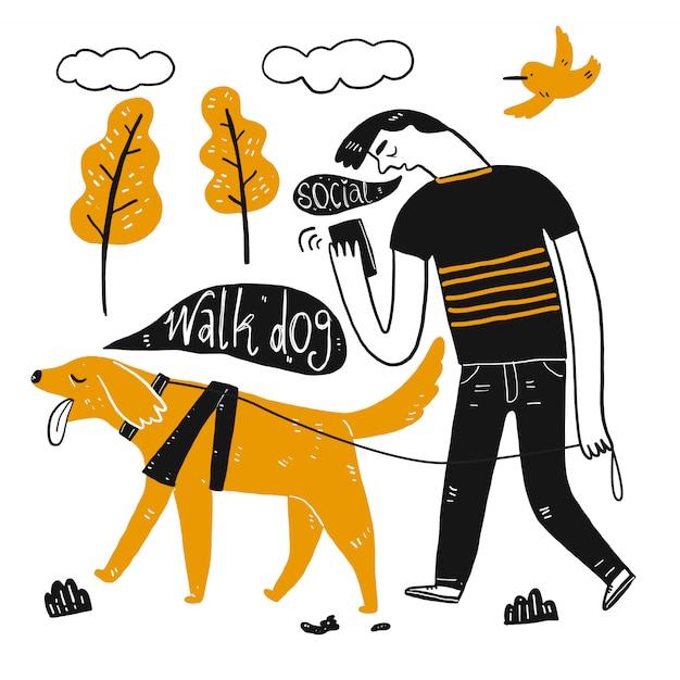 一杯のコーヒーを持って歩く犬。手描きのコレクション、スケッチ落書きスタイルのベクトル図。 Premiumベクター