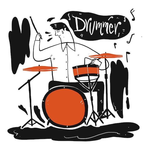 音楽を演奏する男。手描きのコレクション、スケッチ落書きスタイルのベクトル図。 Premiumベクター