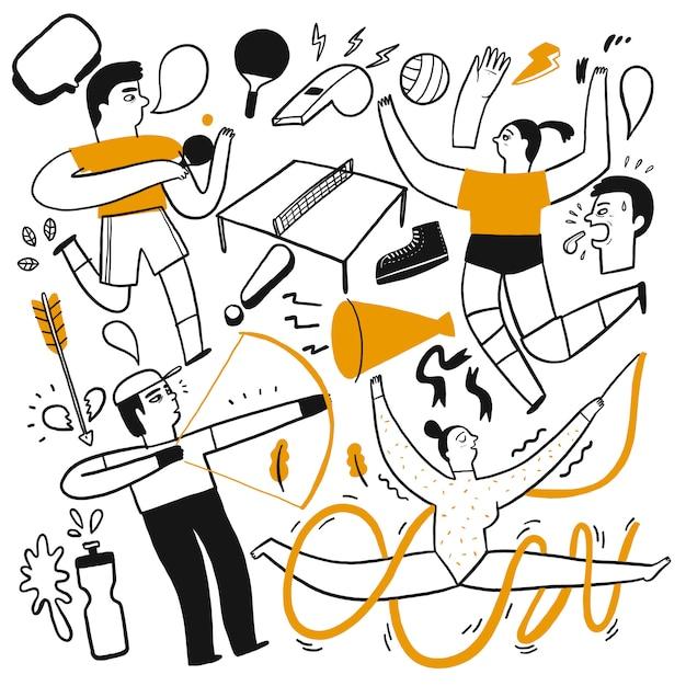 さまざまなスポーツをしている人々の活動、 Premiumベクター