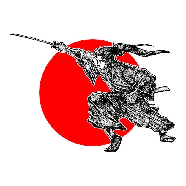サムライ、敵を切り倒す位置、手描きのイラストベクター Premiumベクター