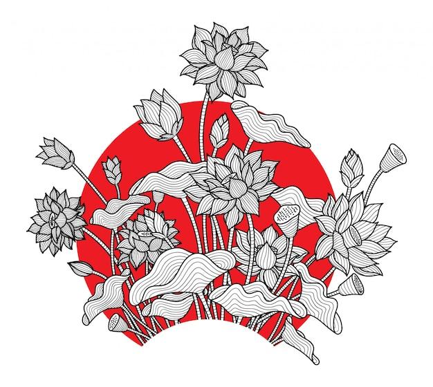 蓮の花シンプル Premiumベクター