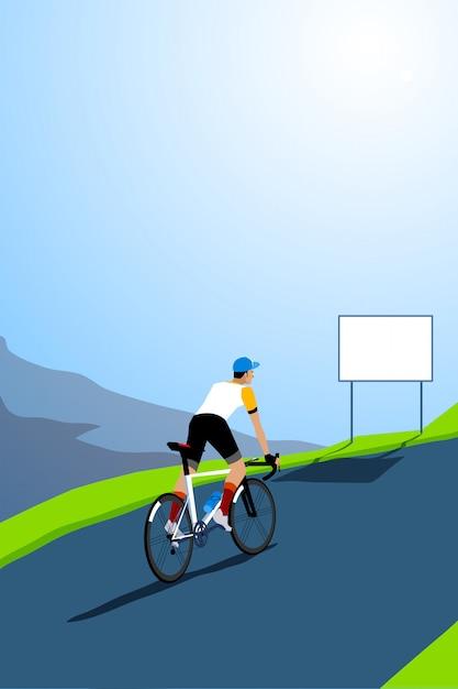 ロードバイクサイクリストクライミング。空のサイン付き。 Premiumベクター