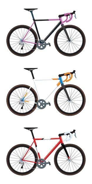 Разноцветные версии дорожных велосипедов Premium векторы