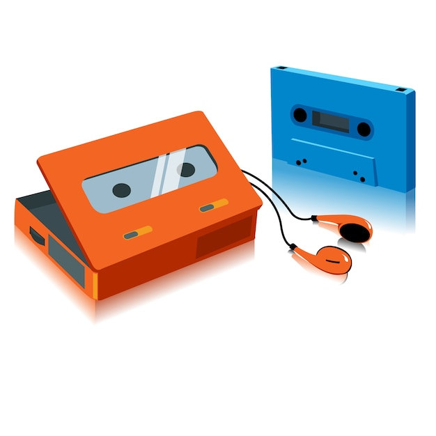 Винтажная портативная кассетная магнитола Premium векторы