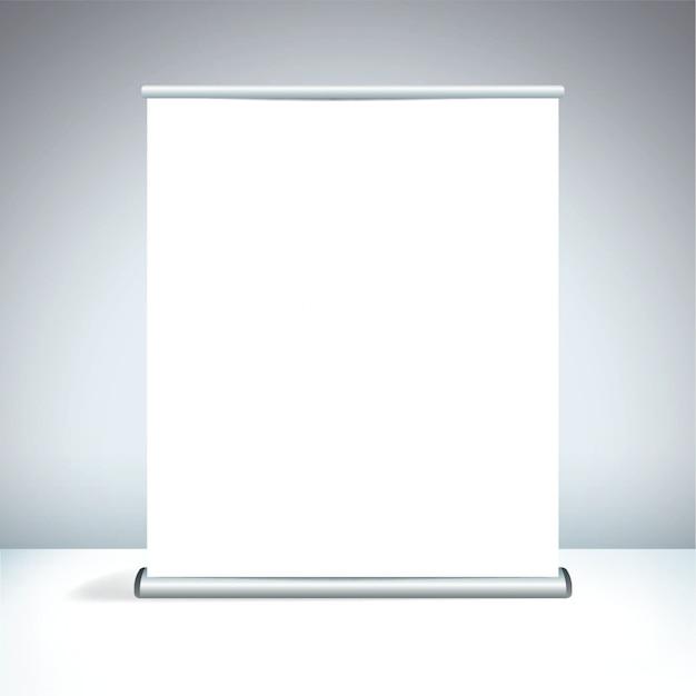 Пустой белый большой свернутый дисплей Premium векторы