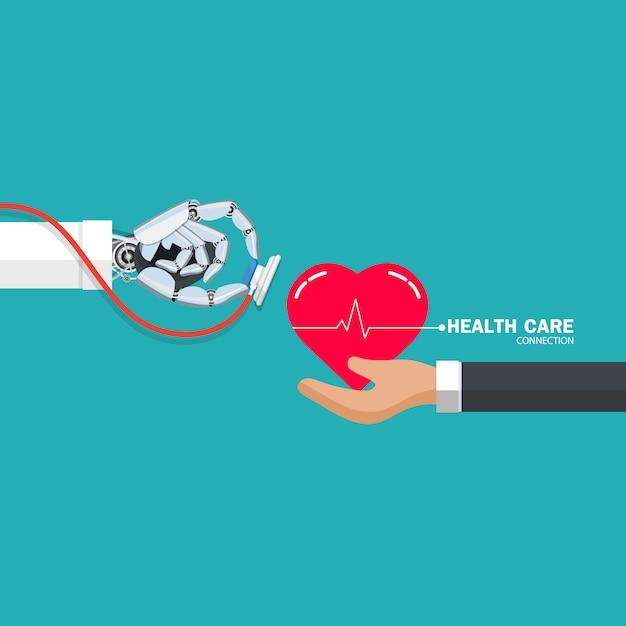 ロボットハンドとヘルスケアの図の概念 Premiumベクター