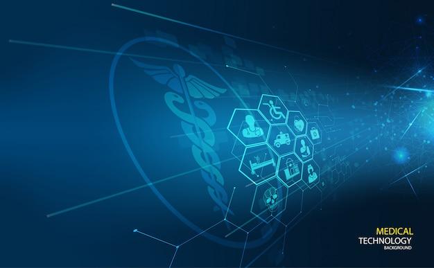 暗い青の背景に抽象的な背景の概念線形と多角形のパターンの形。 Premiumベクター
