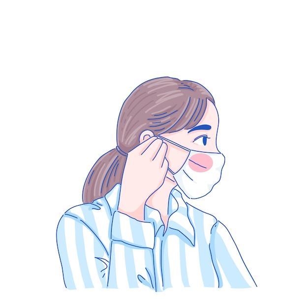 Девушка в маске Premium векторы