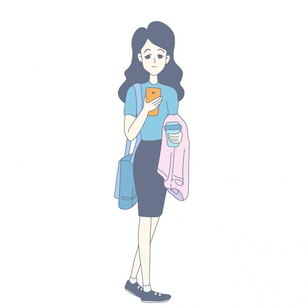 ベクトルの女の子のキャラクターデザイン Premiumベクター