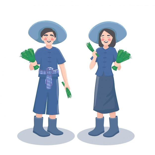 Фермер мальчик девочка. Premium векторы