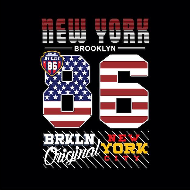Нью-йорк бруклин типография Premium векторы