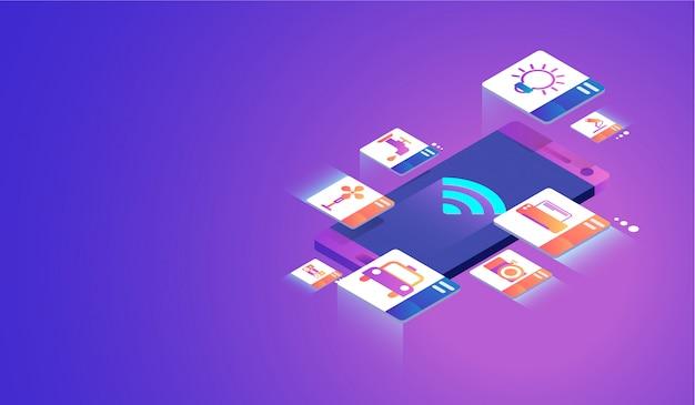 Интернет вещей на смартфон концепции. Premium векторы
