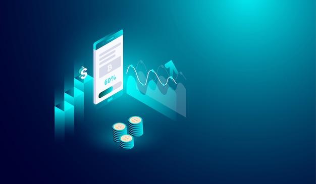Криптовалютный майнинг на концепции смартфона Premium векторы