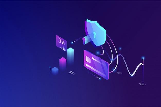 オンラインセキュリティ技術、個人データ保護および安全な銀行業務 Premiumベクター