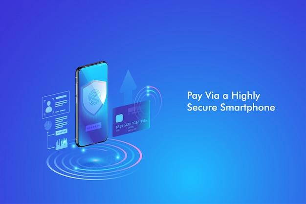 Безопасная онлайн-транзакция со смартфоном. интернет-банкинг с помощью кредитной карты на мобильный телефон. защита торговых беспроводных платежей через смартфон. Premium векторы