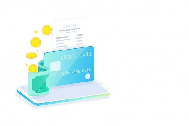 オンラインモバイルバンキングおよびインターネットバンキング等尺性デザインコンセプト、キャッシュレス社会、クレジットカードを介したセキュリティトランザクション。 Premiumベクター