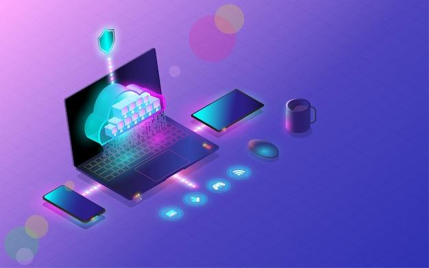 クラウドデータベース接続の概念、クラウドコンピューティング。 Premiumベクター