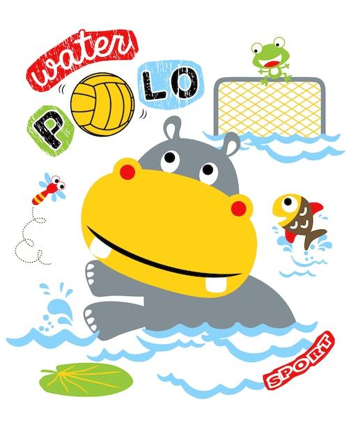 動物の漫画と水のポロのベクトル図 Premiumベクター