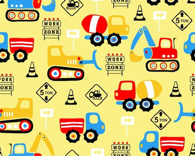 産業車両漫画のシームレスなパターンのベクトル Premiumベクター