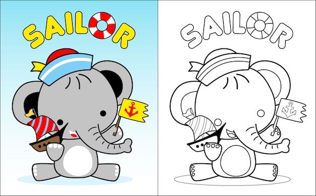 赤ちゃん象の漫画ジュニアセーラー Premiumベクター