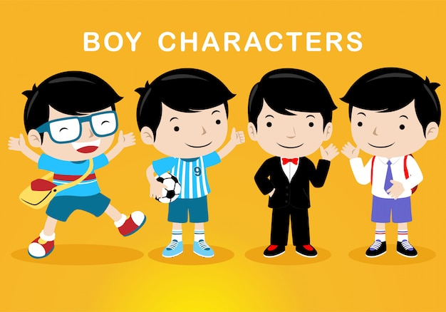 異なる衣装を持つ男の子の漫画のキャラクター Premiumベクター