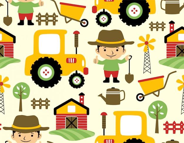 Бесшовные шаблон фермы полевого мультфильма Premium векторы