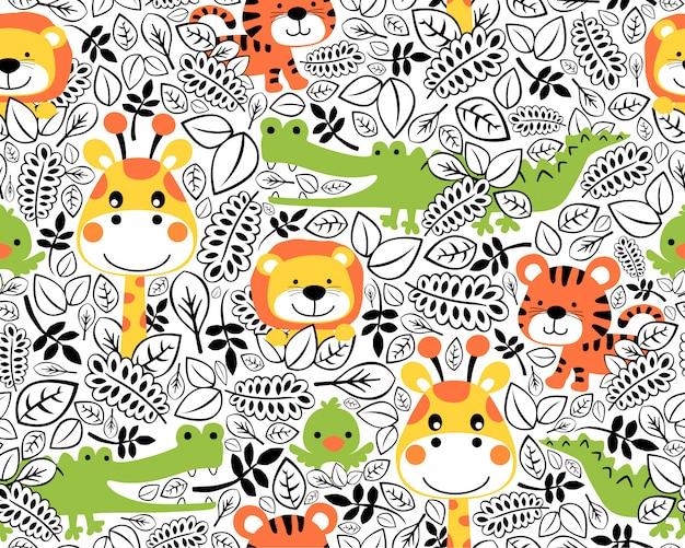 野生動物漫画とのシームレスなパターン Premiumベクター