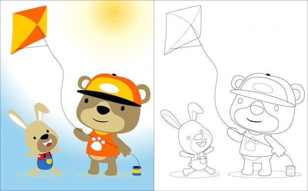かわいい動物と凧で遊ぶ漫画 Premiumベクター