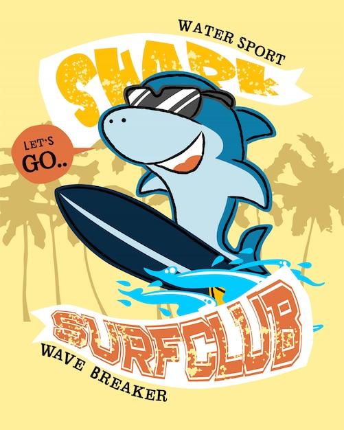 サーフボード上のサメ漫画 Premiumベクター