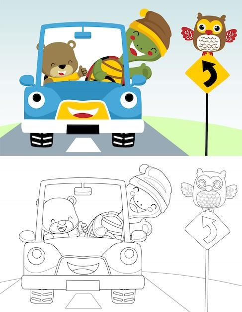 Книжка-раскраска или страница забавного мультяшного автомобиля с милыми животными Premium векторы