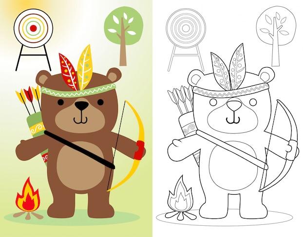 Забавный мультяшный медведь с головным убором из перьев Premium векторы