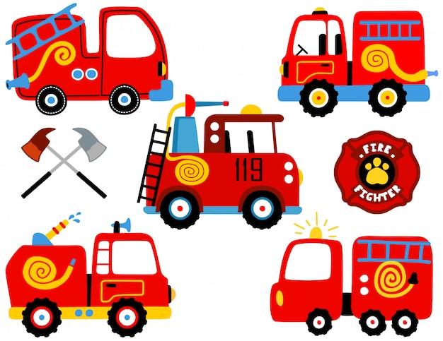 消防車漫画のベクトルを設定 Premiumベクター
