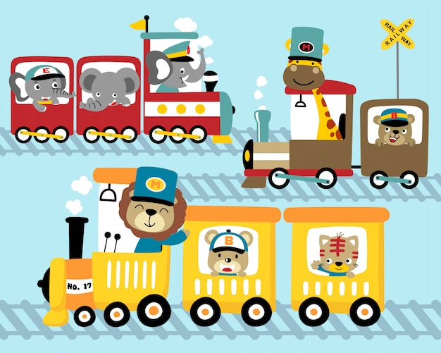 Набор мультфильма поезда с забавными животными Premium векторы